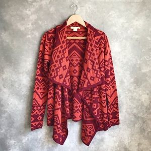 UO Staring at Stars Orange Aztec Drape Cardigan M